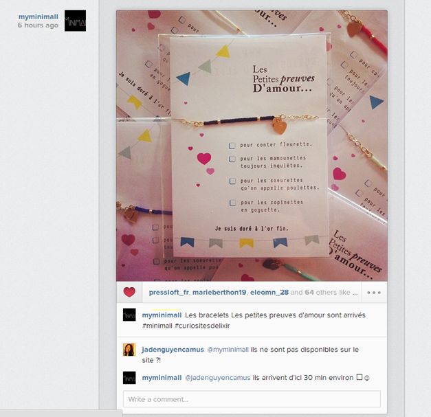 Compte Instagram de la boutique Minimall (E-concept store créateurs)
