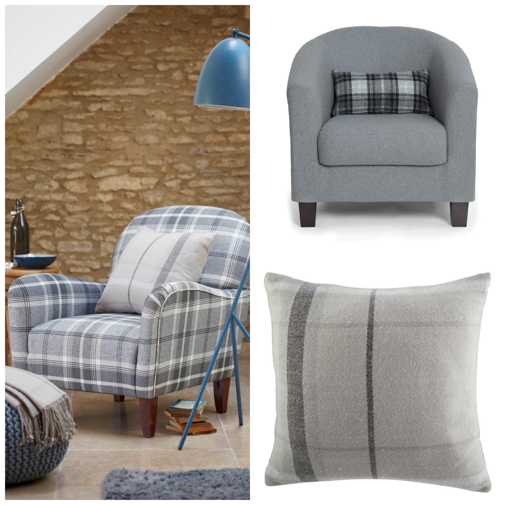 Chez Tesco et Alison at Home, la tartan est traité de manière sobre dans des tons gris par touche ou de manière plus imposante sur l'ensemble d'un fauteuil.
