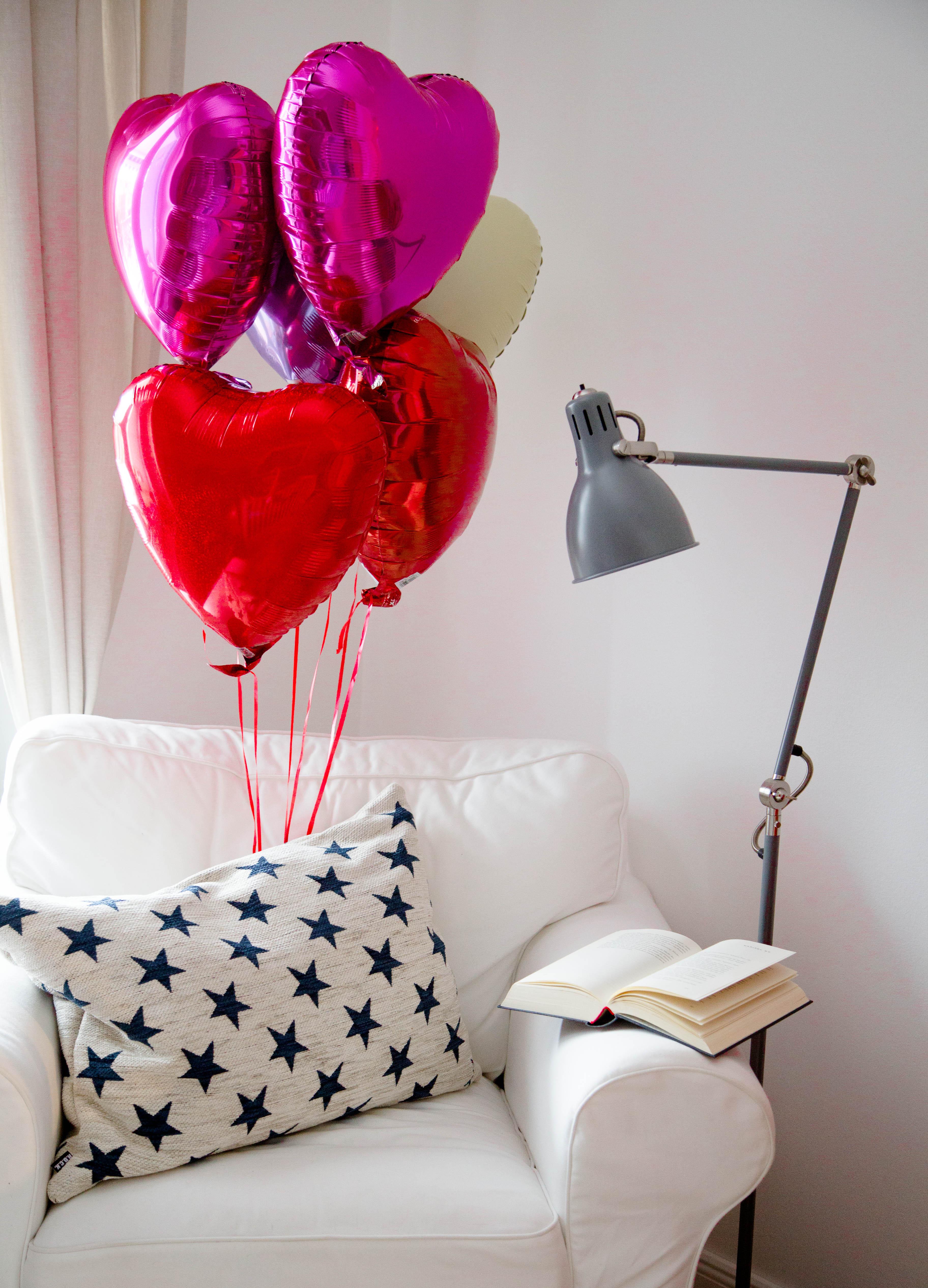 Heliumbefüllte Herzballons im Karton 6er Set Exklusiv